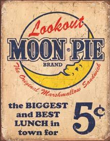 Look Out Moon Pie TIN SIGN retro/vtg diner wall decor snack ad metal poster 1801 Vintage Moon, Vintage Tins, Vintage Labels, Vintage Posters, Retro Vintage, Vintage Country, Country Decor, Vintage Photos, Vintage Style