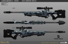 Deus Ex Mankind Divided Concept on 2 of the main new weapons alternate from DXHR : Sniper Rifle & Tranquilizer Rifle. Ninja Weapons, Anime Weapons, Sci Fi Weapons, Weapon Concept Art, Weapons Guns, Fantasy Armor, Fantasy Weapons, Drow Male, Deus Ex Mankind Divided