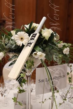 CRICKET THEMED TABLES AT ANNE'S WEDDING AT CEDAR COURT GRAND HOTEL IN YORK, ENGLAND