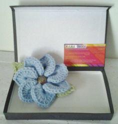 Crocheted Brooch/Corsage/Pin Light Blue Flower Motif by daddydan, $6.95