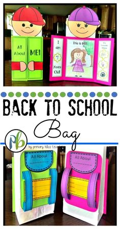 About Me Bag - Back to School Activity Adorable back to school craft activity for the first day of school or beginning of the school year.Adorable back to school craft activity for the first day of school or beginning of the school year. First Day Of School Activities, 1st Day Of School, Beginning Of The School Year, Back School, School Week, Back To School Teacher, School School, Primary School, Preschool Crafts