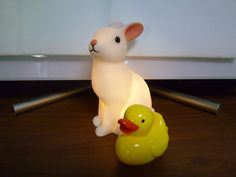 Rabbit night light and rubber duck