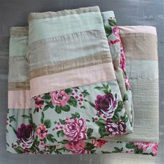 En Fil d'Indienne Pivoine Bedspread, 180x250cm, Cotton, Grey