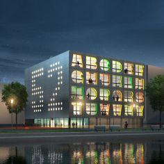 """Het Nederlandse bureau MVRD ontwierp dit creatieve kantoor waarbij de letters in de gevel de adresextensie aangeven van het betreffende kantoor. De """"52"""" in de zijgevel staat voor het huisnummer."""
