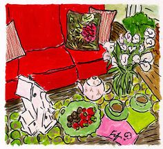 Fifi Flowers Painting du Jour Gallery: Tea with Beverly