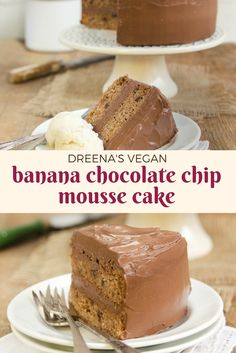 Dreena's VEGAN Banana Chocolate Mousse Cake. SO decadent and delicious - perfect for any birthday or special event. DELICIOUS! plantpoweredkitchen.com