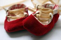 DIY Red Velvet Ballet Slippers For Baby - Easy Sewing