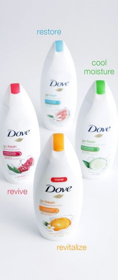 Dove go fresh Body Wash has all the care you need, in the scents you crave. Dove go fresh Cool Moisture leaves your skin feeling hydrated with the cool scent of cucumber & green tea. Dove go fresh Restore provides the perfect balance of freshness and care with the scent of blue fig & orange blossom. Dove go fresh Revive awakens your skin with a burst of pomegranate & lemon verbena scent. Dove go fresh Revitalize has the juicy scent of mandarin & tiare flower and leaves your skin refreshed.