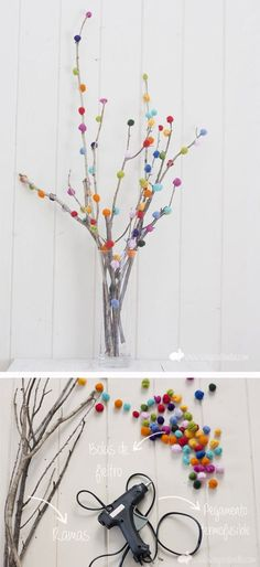 DIY pompom tree I could do this with all the left over little pom poms from family reunion. Kids Crafts, Diy And Crafts, Craft Projects, Arts And Crafts, Easy Crafts, Twig Crafts, Driftwood Crafts, Kids Diy, Preschool Crafts
