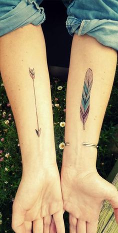 Boho tattoo. I like the colorful feather idea