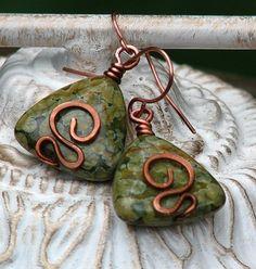 Rainforest jasper triangle copper earrings