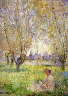 ⊰ Posing with Posies ⊱ paintings & illustrations of women & children with flowers - Woman Sitting under the Willows - Claude Monet