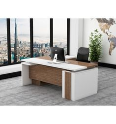 Buy Desks In Dubai | IDesk 6 Custom Made Wooden Executive Desk   Return  Cabinet