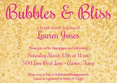 Bubbles & Bliss - Champagne themed, Customized Shower Invitation