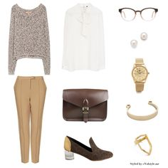 Vegan outfit featuring a Zara blouse and sweater, Topshop trousers, Stella McCartney glasses, Arden Wohl for Cri de Coeur shoes, and a vegan...
