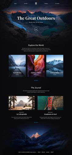 The Great Outdoors – Ui design concept for photo journal website, by Piotr Adam Kwiatkowski