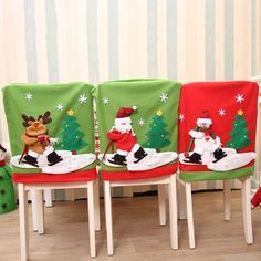 Santa Claus Christmas Chair Cover Set Skiing Style Event Xmas Party Christmas Hat For Chair Dinner Chairs Corving Set Christmas Mood, Christmas Snowman, Christmas Crafts, Holiday, Christmas Ideas, Chair Back Covers, Chair Backs, Ski Style, Christmas Chair Covers