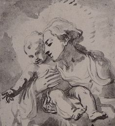 Madonna and Child (drawing) by Elizabetta Sirani 17th C.