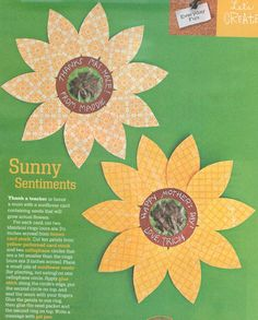 Idea from Disney's Family Fun mag:   card stock sunflowers with sunflower seeds in the middle for teachers or parents! Cute & easy for kids to make!