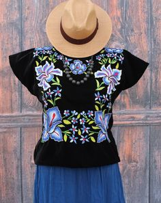 Blue Hand Embroidered Tehuana Mexico on Black Velvet Huipil Frida Cow Girl Style #Handmade #Huipiltunic