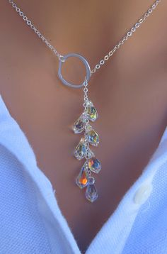 Mütter Tag Verkauf Crystal Lariat Halskette in von RoyalGoldGifts