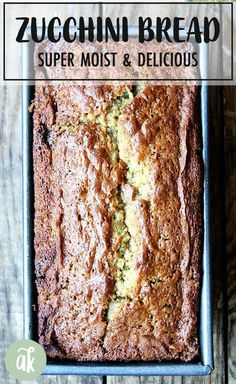 The Best Zucchini Bread This is a quick bread made with brown sugar and white eggs and oil and the result is a super moist zucchini bread that makes a wonderful addition. Zucchini Bread Muffins, Gluten Free Zucchini Bread, Zucchini Bread Recipes, Paula Deen Zucchini Bread, Coconut Zucchini Bread, Courgette Bread, Cheesy Zucchini Bake, Zucchini Desserts, Recipes