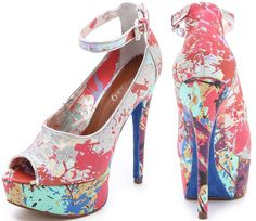 Gorgeous and fancy paint splatter shoes.
