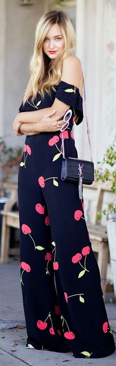 Black Multi Cherry Print Wide Leg Strapless Jumpsuit by Late Afternoon