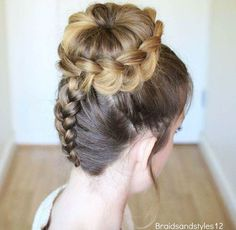 dutch braid and bun updo . dutch braid and bun updo Dance Hairstyles, Pretty Hairstyles, Easy Hairstyles, Wedding Hairstyles, Wedding Updo, Protective Hairstyles, Bun Hairstyles With Braids, Dutch Braided Hairstyles, High School Hairstyles
