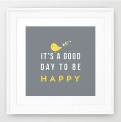 "Happy poster 12x12"" Framed print grey background grey and yellow nursery decor birthday gift wall decor art via Etsy."