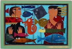 At The Aquarium - Fabric Appliqué Chris Roberts, Primitive Folk Art, Collage Artists, Textile Art, Artsy Fartsy, Fiber Art, Aquarium, Digital Art, Sea