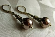 Chocolate Mocha Bronze Crystal Pearl Drop by TitanicTemptations
