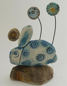 Rabbit and tiny flowers by Shirley Vauvelle in Sculpture Archive, Sculpture using earthenware and driftwood. Driftwood Sculpture, Pottery Sculpture, Pottery Art, Sculpture Art, Pottery Ideas, Clay Projects, Clay Crafts, Rabbit Sculpture, Rabbit Art