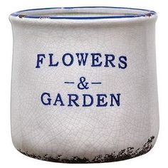 New Distressed Chipped White and Blue Container Pot with Flowers and Garden