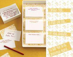 pour changer des livre d'or, optez pour une petite boîtes ou tous vos invités écrirons un petit mot sur une carte!