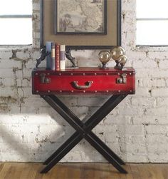 Nailhead Red Accent Table Wood Trunk Style End Nightstand Campaign Luggage  Devon #na