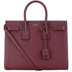 Saint Laurent Small Grain Sac De Jour Bag ($2,530) ❤ liked on Polyvore featuring bags, handbags, hand bags, yves saint laurent bags, yves saint laurent purses, red hand bags and handbags purses