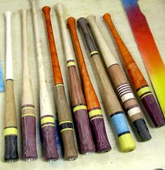 Series of newly milled straight pen holders prior to color enhancement with dyes.