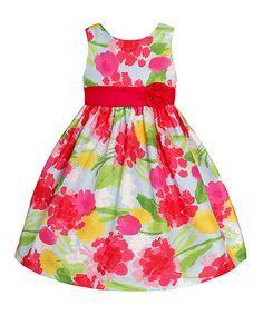 Love this Red & Green Floral Rosette Dress - Toddler & Girls by American Princess on #zulily! #zulilyfinds