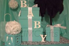 Breakfast At tiffany/Baby & Co Boy Centerpiece Set by SlimCrafts Shower Party, Baby Shower Parties, Baby Shower Themes, Baby Boy Shower, Shower Ideas, Tiffany Theme, Tiffany & Co., Tiffany Party, Baby Shower Gift Basket
