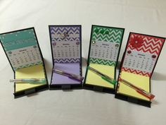 Desk calendar post-it note easel card holder with 3 by GrammasShop
