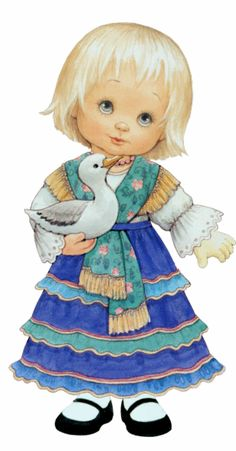 Girl and duck, People Illustration, Cute Illustration, Painting For Kids, Art For Kids, Decoupage, Young Animal, Cute Clipart, Holly Hobbie, Christmas Cards To Make