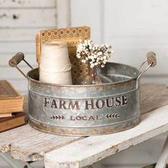 Get organized with our galvanized buckets and baskets. #farnhousedecor #homedecor