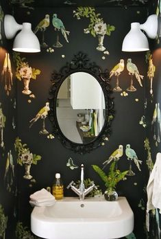 """A stylish master bathroom makeover - nina campbell's """"perroquet"""" wallpaper Best Picture For House design in india For Your Taste - Bathroom Inspiration, Interior Inspiration, Bathroom Ideas, Fitness Inspiration, Bathroom Designs, Bathroom Trends, Color Inspiration, Bathroom Interior, Bathroom Layout"""
