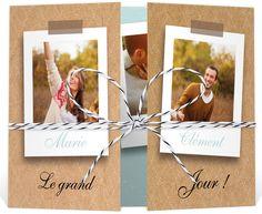 Faire part mariage ficelle avec photos qui charmera votre entourage avec son fil baker twine tendance, ref N70165
