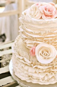 ruffled wedding cake so great for a romantic vintage or shabby chic wedding. could also be great for a bridal shower cake. Cream Wedding Cakes, Pretty Wedding Cakes, Elegant Wedding Cakes, Pretty Cakes, Beautiful Cakes, Amazing Cakes, Cake Wedding, Ivory Wedding, Rustic Wedding