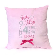 Minky Baby Announcement Pillow (Sophie)