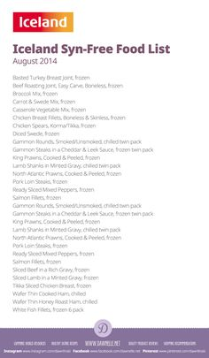 #Iceland Syn-Free Shopping List on the #SlimmingWorld #ExtraEasy plan - August 2014