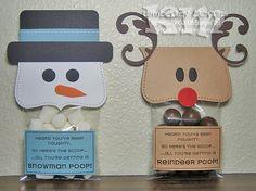 Snowman and reindeer poop