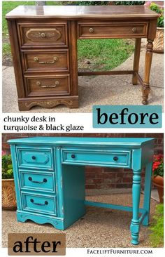 Turquoise Chunky Desk ~ Before & After. Find more painted, glazed & distressed inspiration on our Pinterest boards, or on the Facelift Furniture DIY blog.